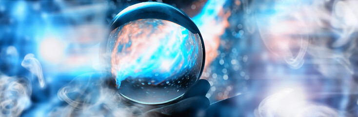 Astrological background. Crystal ball with predictions. Horoscope of the stars. Fortune telling and determination of fate. Soothsayer with a crystal ball. Wall mural