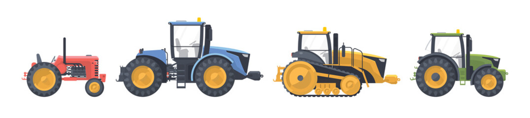 Tractor set. vector flat illustarion. Agriculture machine. Fotomurales