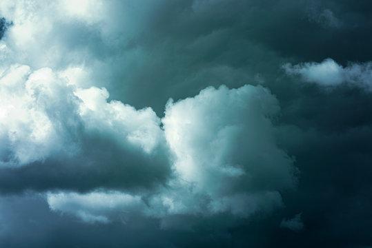 Clouds in dark sky before heavy storm