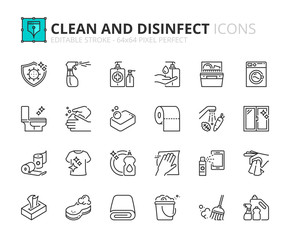 Simple set of outline icons about  clean and disinfect.