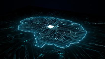 Wall Mural - Artificial intelligence (AI), data mining, deep learning modern computer technologies.  Futuristic Cyber Technology Innovation.  Brain representing artificial intelligence with printed circuit board (