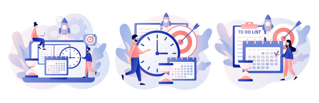 Self Discipline and Motivation concept. Tiny people which time management, self control system, self management, target, productivity.Modern flat cartoon style. Vector illustration on white background