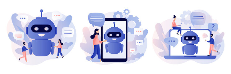 Chatbot concept. AI robot assistant, online customer support. Tiny people chatting with chatbot application. Modern flat cartoon style. Vector illustration on white background Wall mural