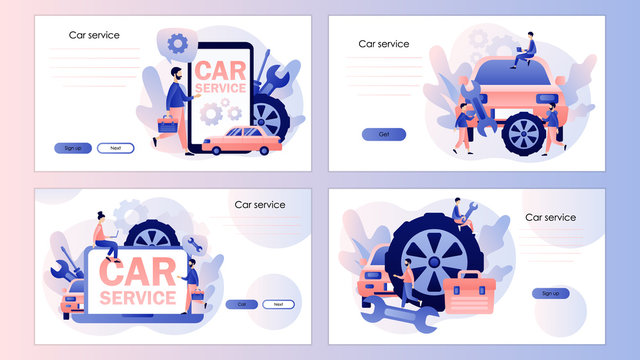 Car service and repair. Auto service concept. Screen template for mobile smart phone, landing page, template, ui, web, mobile app, poster, banner, flyer. Modern flat cartoon style. Vector illustration