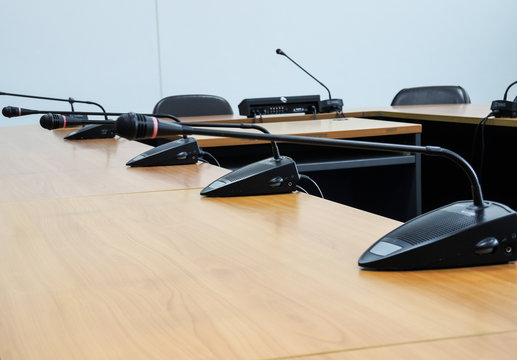 Close-up Of Microphones On Table