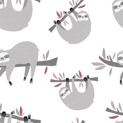 Vector hand-drawn colored seamless repeating childish pattern with cute sloths on the branches in the Scandinavian style on a white background. Cute baby animal. Baby print with sloths