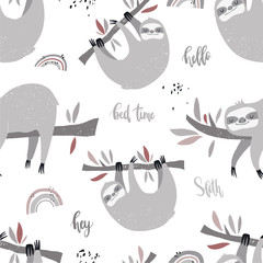 Vector hand-drawn colored seamless repeating childish pattern with cute sloths on the branches and a rainbow in the Scandinavian style on a white background. Cute baby animal. Baby print with sloths