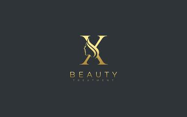 Letter X Beauty Face Logo Design