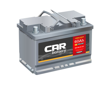 Car battery isolated on white background. Realistic vector. 12 volt car battery power cell. Battery Shop Logo.
