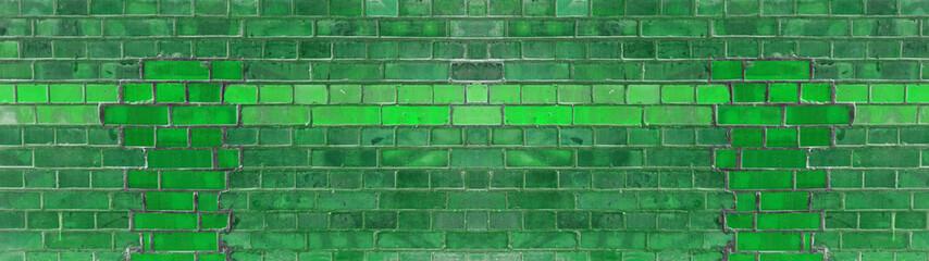 Grren damaged rustic brick wall texture banner panorama