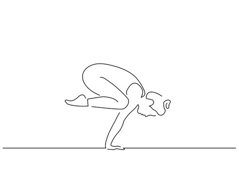 Woman practicing yoga isolated line drawing, vector illustration design. Sport collection.
