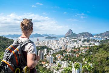 Door stickers Rio de Janeiro South America, Brazil, Rio de Janeiro. A tourist looking out over the landscape of Rio de Janeiro.