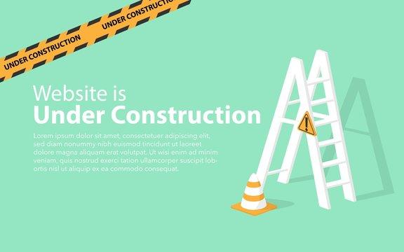 Website landing page of broken website page website is under construction