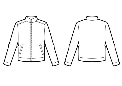 Technical sketch of man sweatshirt with zipper on front.