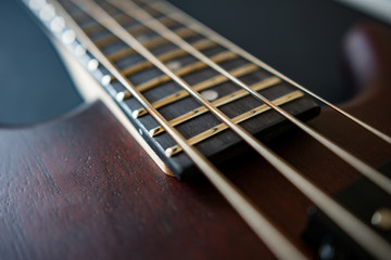 Brown four string bass guitar  picture in shallow depth of field