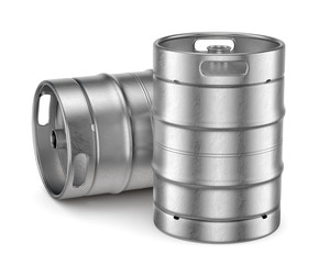 Metal beer kegs isolated on white background
