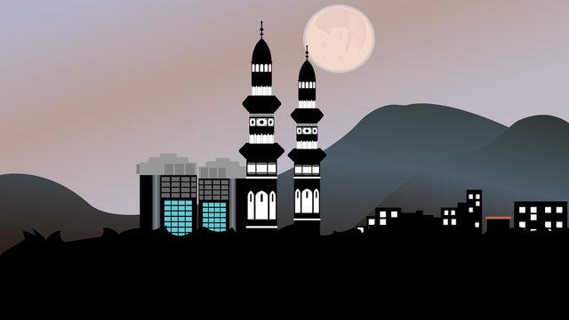 Illustration vector graphic of Madina Al Munawara from afar. Ramadan background, wallpaper, icon, etc.