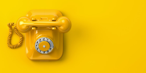 Poster Retro vintage yellow telephone on yellow background. 3d illustration