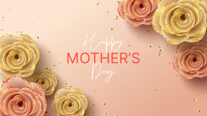 Happy Mother's Day banner. Holiday greeting card with realistic 3d gentle flowers with golden sand. Vector illustration with paper roses and gold confetti. Fotobehang