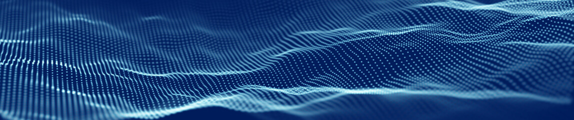 Blue digital wave abstract template.