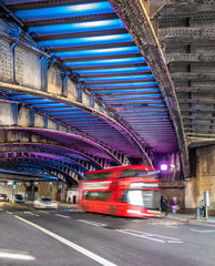 Printed roller blinds London red bus Double decker red bus on the road under the bridge passage in London