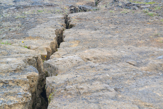 Close up of a fault line or fracture in the earth