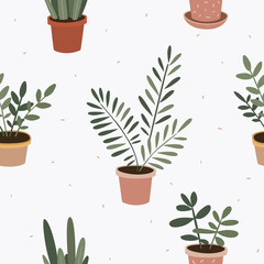 Seamless pattern with plants in flower pots. Indoor flowers vector illustration. Home decorative greens. Flora and botanical design of wallpaper, packaging, textile.
