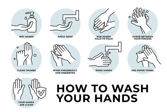 How to wash your hands step by step. Steps To Hand Washing For Prevent Illness And Hygiene, Keep Your Healthy, Sanitary, Infection