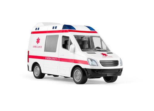 toy ambulances isolated on white background