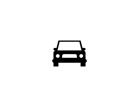Oncoming car vector flat icon. Isolated blue car vehicle emoji illustration