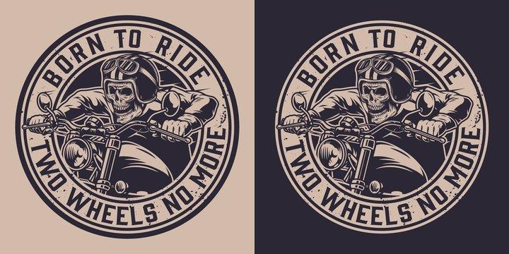 Motorcycle vintage round emblem
