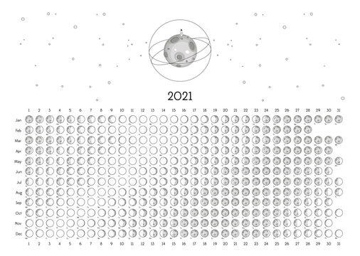 Moon Calendar 2021 Northern Hemisphere white