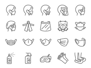 Covid-19 protection equipments line icon set. Included icons as face mask, 3d mask, face shield, goggles, alcohol gel, ppe suite and more. Fotoväggar