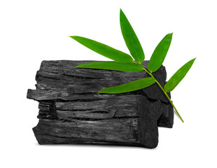 Natural wood charcoal, traditional charcoal or hard wood charcoal isolated on white background,with...