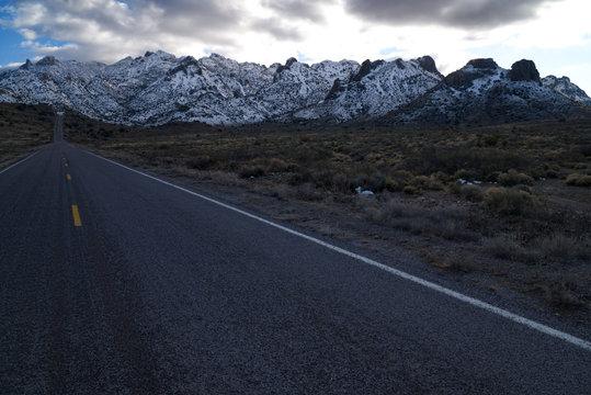 Winter snow on the Florida mountains, New Mexico.