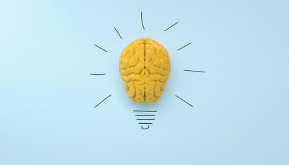 yellow brain on blue clear background yellow brain on blue clear background, concept light bulb idea Wall mural