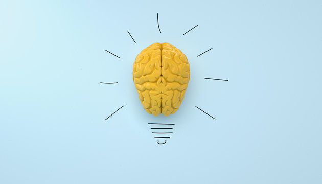 yellow brain on blue clear background yellow brain on blue clear background, concept light bulb idea
