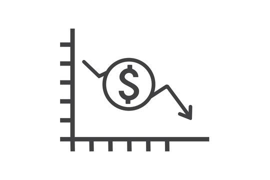 Money crisis icon vector, Dollar rate decrease vector line icon. Money symbol with down arrow. Lower cost icon. Business lost crisis decrease vector illustration. money crisis due to coronavirus