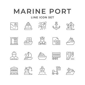 Set line icons of marine port