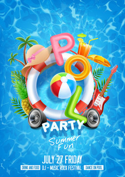 summer holiday background with pool party