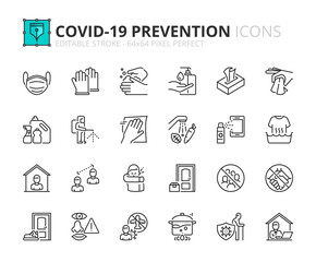 Simple set of outline icons about Coronavirus prevention.