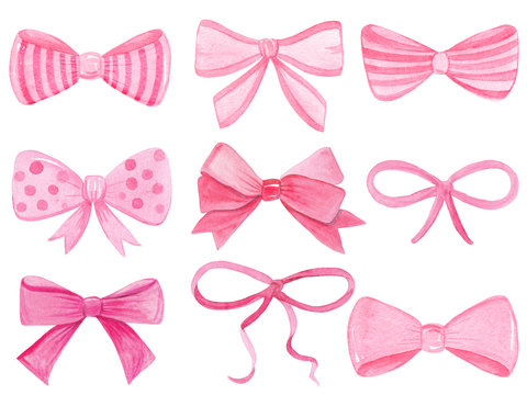 Watercolor pink bows set isolated on white background. Hand drawn collection of ribbon illustrations