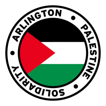 Round Arlington Palestine Solidarity Flag Clipart