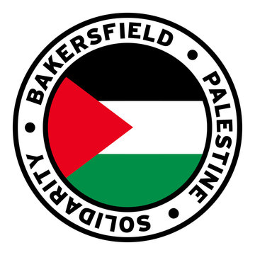 Round Bakersfield Palestine Solidarity Flag Clipart