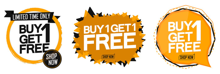 Set Buy 1 Get 1 Free tags, sale banners design template, discount badge collection, app icons, vector illustration