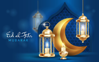 Obraz Eid al Fitr, or Festival of Breaking the Fast. card or poster design to mark the end of Ramadan over a midnight blue background, vector illustration - fototapety do salonu