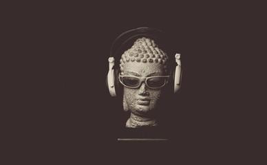 Wall Murals Buddha Close-up Of Buddha Statue With Sunglasses And Headphones