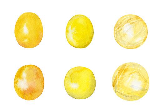 パワーストーン 水彩イラストのセット 黄色 ゴールド