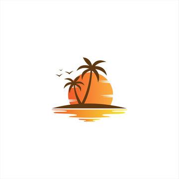sunset beach logo icon vector