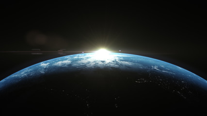 Wall Mural - A cinematic rendering of planet Earth rise rotation moving from night side to the illuminated daylight side with the sun rising on the planet's horizon